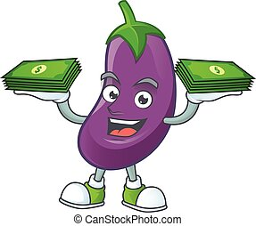 Happy face eggplant character with money on hand