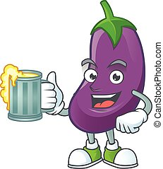 Happy face eggplant with a glass of beer