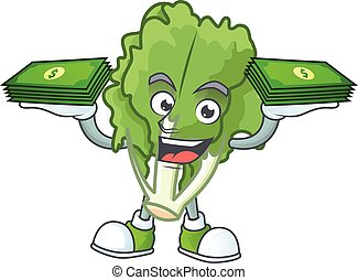 Happy face endive character with money on hand