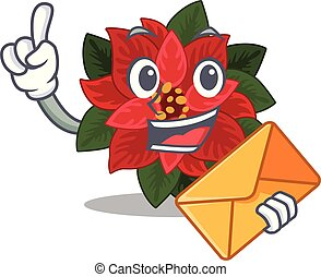 Happy face flower poinsettia mascot cartoon style With envelope