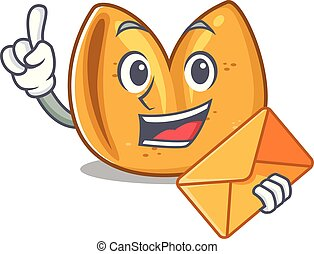 Happy face fortune cookie mascot cartoon style With envelope