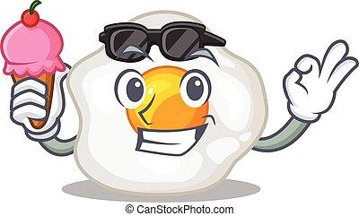 happy face fried egg cartoon design with ice cream