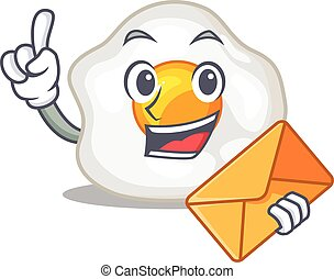 Happy face fried egg mascot design with envelope