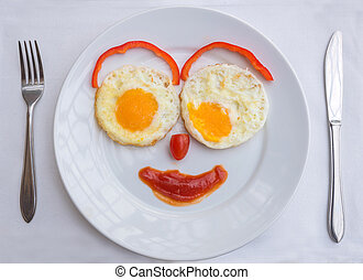 Happy Face Frying Eggs breakfast