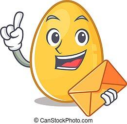 Happy face golden egg mascot design with envelope