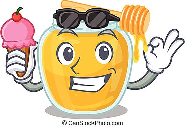 happy face honey cartoon design with ice cream