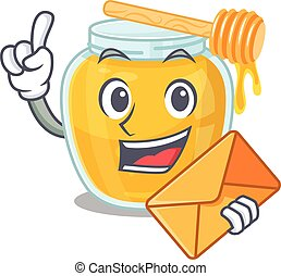 Happy face honey mascot design with envelope