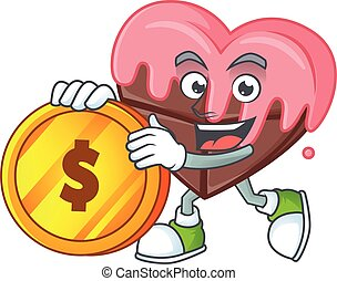 happy face love chocolate with pink cartoon character with gold coin