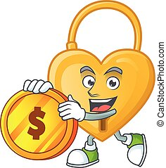 happy face love padlock cartoon character with gold coin