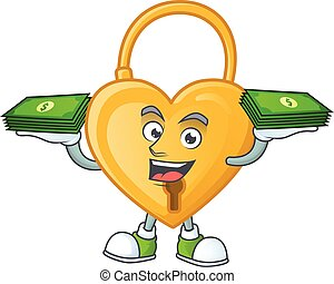 Happy face love padlock character with money on hand