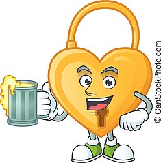 Happy face love padlock with a glass of beer