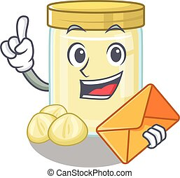 Happy face macadamia nut butter mascot design with envelope