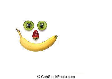 Happy face made with fruits