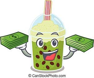 happy face matcha bubble tea character having money on hands