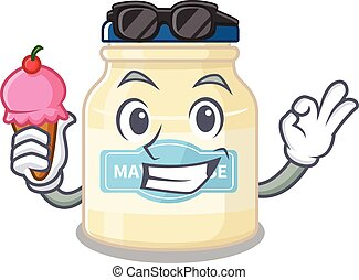 happy face mayonnaise cartoon design with ice cream