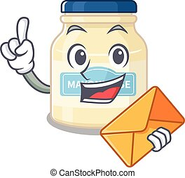 Happy face mayonnaise mascot design with envelope