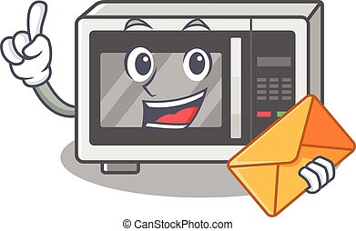 Happy face microwave mascot design with envelope