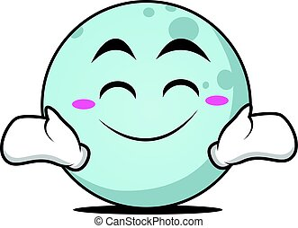 Happy face moon cartoon character