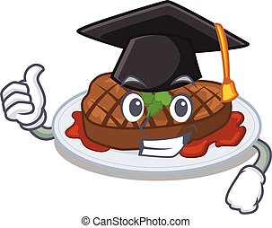 Happy face of grilled steak in black graduation hat for the ...