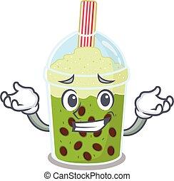 Happy face of matcha bubble tea mascot cartoon style