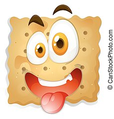Happy face on biscuit