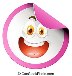 Happy face on round badge