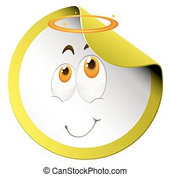 Happy face on round sticker