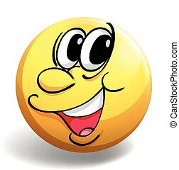 Happy face on yellow ball