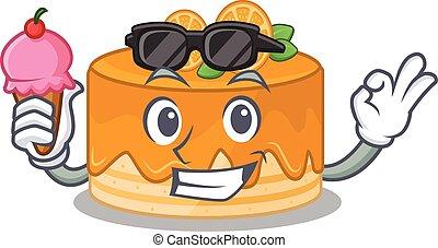 happy face orange cake cartoon design with ice cream