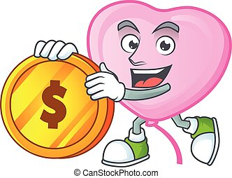 happy face pink love balloon cartoon character with gold coin