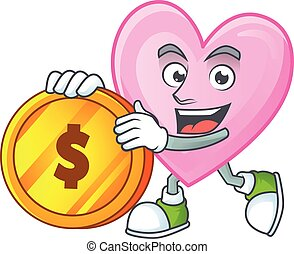happy face pink love cartoon character with gold coin