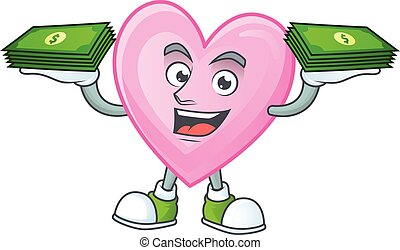 Happy face pink love character with money on hand