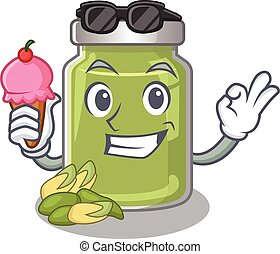happy face pistachio butter cartoon design with ice cream