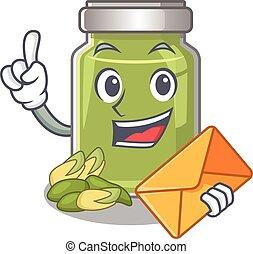 Happy face pistachio butter mascot design with envelope