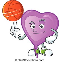 Happy face purple love balloon cartoon character playing basketball. Vector illustration