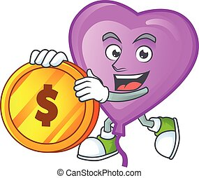 happy face purple love balloon cartoon character with gold coin