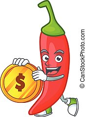 happy face red chili cartoon character with gold coin