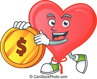happy face red love balloon cartoon character with gold coin