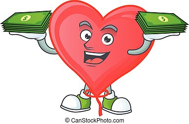 Happy face red love balloon character with money on hand
