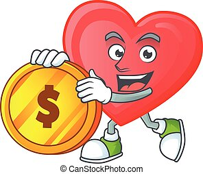 happy face red love cartoon character with gold coin