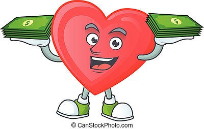 Happy face red love character with money on hand