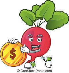 happy face red radish cartoon character with gold coin