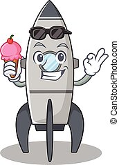 happy face rocket cartoon design with ice cream