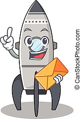 Happy face rocket mascot design with envelope