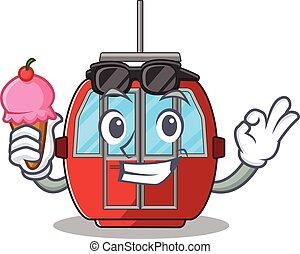 happy face ropeway cartoon design with ice cream