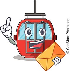 Happy face ropeway mascot design with envelope