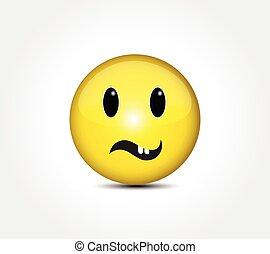 Happy face smiling emoticon button