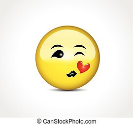 Happy face smiling kiss love heart emoticon button