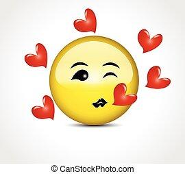 Happy face smiling kiss love hearts emoticon button