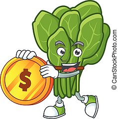 happy face spinach cartoon character with gold coin